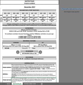 Watch Plan und Telephone List - Excel
